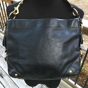 Black Coach Leather Bag w/ Golden Hardware